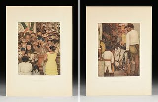 """DIEGO RIVERA (Mexican 1886-1957) A GROUP OF TWO PRINTS, FROM """"Frescoes of Diego Rivera,"""" MOMA, SIGNED, NEW YORK, 1933,"""