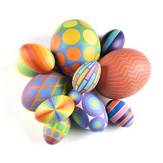 SYBIL EDWARDS (Canadian b. 1944) A GROUP OF ELEVEN OP ART EGGS,