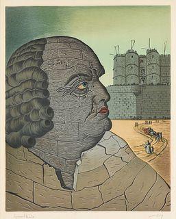 "MAN RAY (American 1890-1976) A PRINT, ""The Imaginary Portrait of Marquis de Sade,"" 1970,"