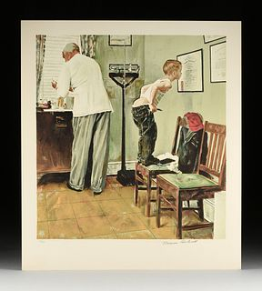 "NORMAN ROCKWELL (American 1894-1978) A SATURDAY EVENING POST COVER PRINT, ""Before the Shot,"""