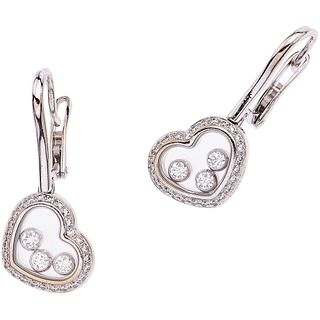 """PAIR OF EARRINGS WITH DIAMONDS IN WHITE GOLD 18K CHOPARD Hook and safety, Weight: 7.7 g. Size: 0.39 x 0.98"""" (1.0 x 2.5 cm)"""