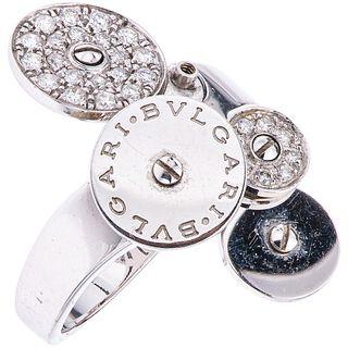 18K WHITE GOLD DIAMOND RING, BVLGARI Missing disk. Weight: 9.3 g. Size: 6 ½