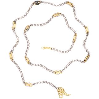 """18K WHITE AND YELLOW GOLD NECKLACE, ZANCAN  Carabiner clasp. Weight: 16.3 g. Length: 21.6"""" (55.0 cm)"""
