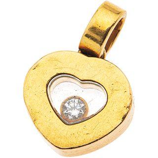 18K YELLOW GOLD DIAMOND PENDANT, CHOPARD  Shows wear. With an encapsulated diamond.