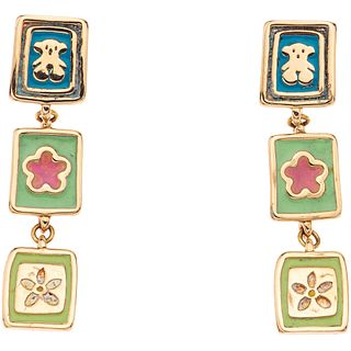 PAIR OF EARRINGS WITH ENAMEL IN 18K YELLOW GOLD, TOUS  Enamel with missing elements. Weight: 7.2 g....