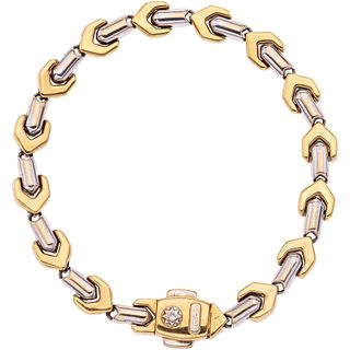 """18K WHITE AND YELLOW GOLD DIAMOND BRACELET, CHIMENTO  Weight: 14.0 g. Length: 7.4"""" (18.8 cm)"""