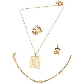 SET OF NECKLACE, PENDANT, BRACELET, RING AND AN EARRING IN 18K YELLOW GOLD, TOUS