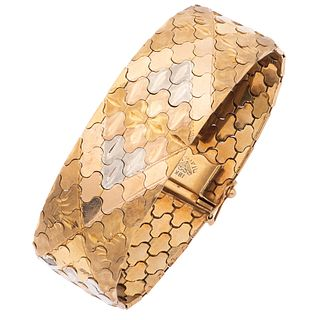 """18K ROSE, WHITE AND YELLOW GOLD BRACELET Box clasp with double 8-shaped safety. Weight: 57.8 g. Length: 7.3"""" (18.6 cm)"""