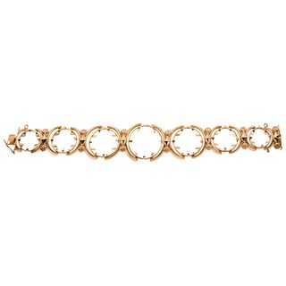 "18K YELLOW GOLD BRACELET Box clasp. Weight: 49.7 g. Length: 7.5"" (19.2 cm)"