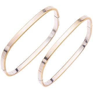 "TWO 18K WHITE GOLD BRACELETS  Show wear. Rigid. Box clasp. Weight: 17.8 g. Length: 7"" (18.2 cm)"
