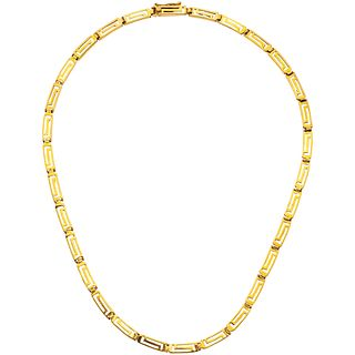 """18K YELLOW GOLD CHOKER Box clasp with 8-shaped safety. Weight: 27.6 g. Length: 17"""" (43.5 cm)"""