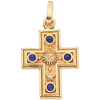 """CROSS WITH LAPIS LAZULI IN 18K YELLOW GOLD  Weight: 28.3 g. Size: 1.3 x 2.4"""" (3.5 x 6.3 cm)"""
