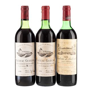 Vinos Tintos de Francia. a) Château Guibeau. Cosecha 1971. b) Château de Malleret. Cosecha 1976. Total de piezas: 3.