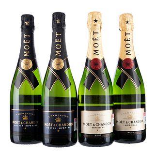 Champagne. a) Moët & Chandon. Imperial. b) Moët & Chandon. Nectar imperial. Total de piezas: 4.