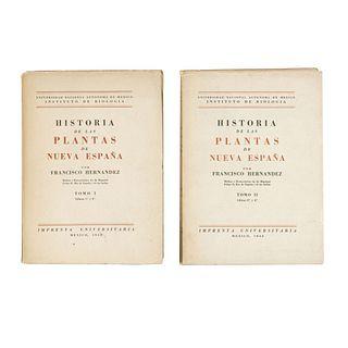 Historia de las Plantas de Nueva España. Hernández, Francisco. México: Imprenta Universitaria, 1942, 1943. Piezas: 2.