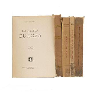 LIBROS DE IMPRENTA UNIVERSITARIA Y FONDO DE CULTURA ECONÓMICA.  a) El Problema Indoeuropeo. b) La Nueva Europa. Pzs: 5.