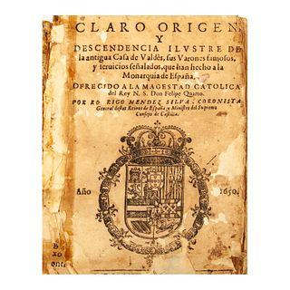 Méndez Silva, Rodrigo. Claro origen, y descendencia ilustre de la antigua Casa de Valdés, sus varones famosos y seruicios...Madrid:1650