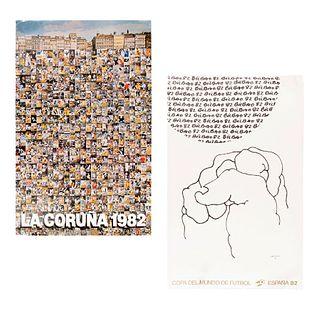 Lote de 2 posters de la Copa del Mundo de Futbol. España, 1982 Impresión sobre papel De las provincias de La Coruña y Bilbao 95x60 cm