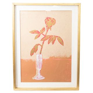 Carmen Parra. Rosa. Firmada a lápiz. Serigrafía. Enmarcada. 70 x 47 cm.