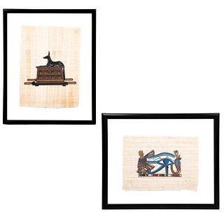 Lote de 2 papiros egipcios. Enmarcados. Consta de: FIRMA SIN IDENTIFICAR Ojo de Horus Firmado al frente Acrílico sobre papiro. Otra.