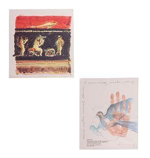 Lote de 2 obras. Consta de: a) Teresa Cito. Sin título, Firmado y fechado 92, Impresión digital 13/100. Otra.