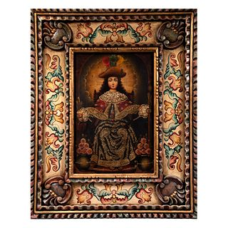 ANÓNIMO Santo niño de Atocha Escuela Cusqueña Óleo sobre tela Enmarcado en madera tallada y policromada con detalles pintados a mano