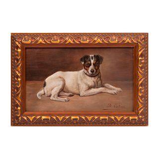 D. CORTINA Retrato de perro Jack Russell terrier Firmado al frente Óleo sobre tabla Enmarcado 23 x 33 cm con marco