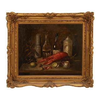 Anónimo. Bodegón con langosta. Óleo sobre tela. Enmarcado. 56 x 69 cm