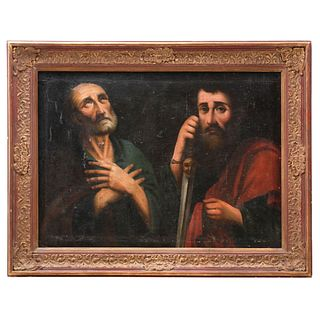 SAN PEDRO Y SAN PABLO, SIGLO XIX, Óleo sobre tela Marco de madera tallada y dorada. 73 x 100 cm