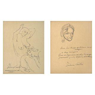 FEDERICO CANTÚ, Insomnio de 1934, Firmadas, Tinta sobre papel, 24 x 19 cm cada una, Piezas: 2