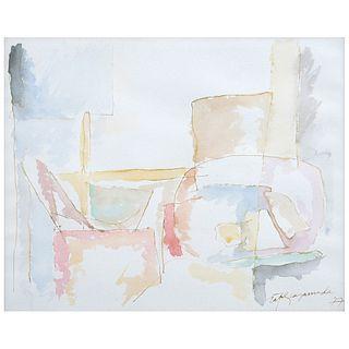 ALBERT RÀFOLS-CASAMADA,  Interior #2, Firmada y fechada 77, Acuarela sobre papel, 22 x 26.8 cm