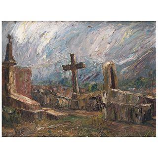 LUIS SAHAGÚN, Cementerio en Tepepan, Firmado y fechado D.F. 1966 al reverso, Óleo sobre triplay, 25.4 x 33.3 cm