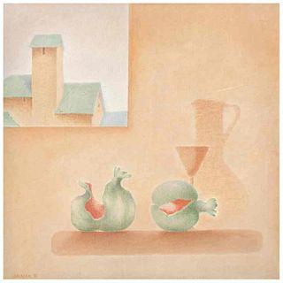 JUAN SALAZAR, Naturaleza muerta con ventana, Firmado y fechado 81, Óleo sobre tela, 70 x 70 cm