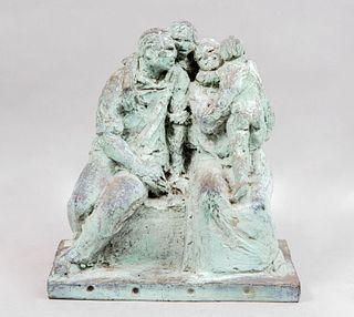 ANÓNIMO Familia Fundición en bronce patinado Con base rectangular 35 cm de altura