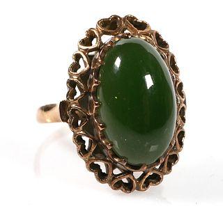 18k Gold JADE Cabochon Ring, Vintage