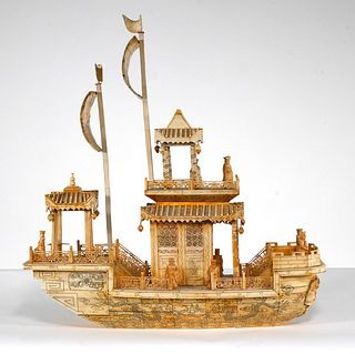 Chinese Bone Carved Junk Model