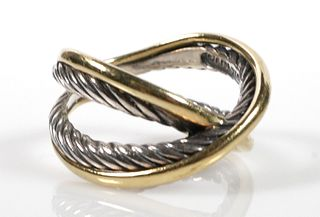 DAVID YURMAN 18k Gold Sterling X Ring