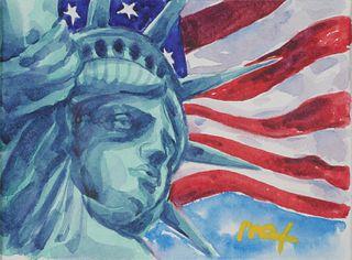 PETER MAX, Watercolor, Statue of Liberty