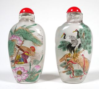 (2) Vintage Chinese Inside Painted SNUFF BOTTLES