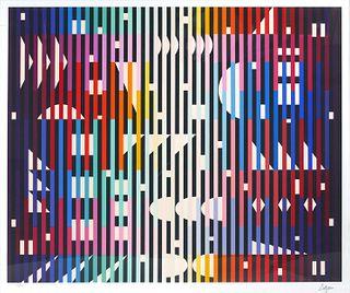 YAACOV AGAM, Op Art Serigraph, Large
