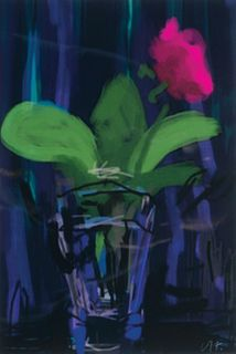 David Hockney, Am. b. 1937, Pink Flower, 2009, Digital print, matted and framed