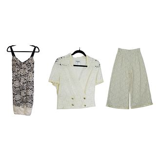Chanel Floral Top and Pants Bottom Set