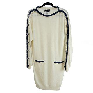 Chanel Long Sleeve Wool Dress