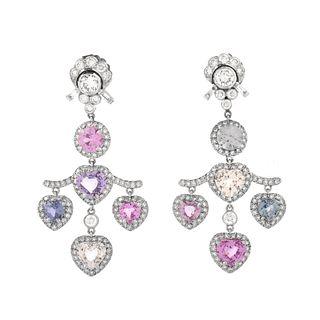 Sapphire, Diamond, Platinum and 18K Earrings