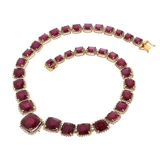 Ruby, Diamond and 14K Necklace