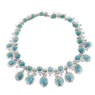 Turquoise, Diamond and 18K Necklace
