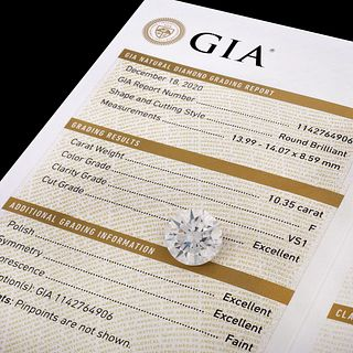 GIA 10.35ct Round Brilliant Cut Diamond