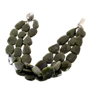 Green Gemstone and Silver Necklace