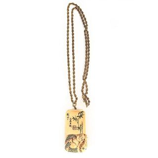 Chinese carved inro clasp/pendant & 14k gold chain