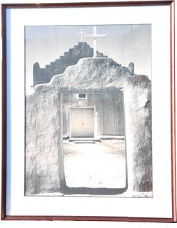 "Original Ansel Adams Photo, ""Church, Taos Pueblo"""